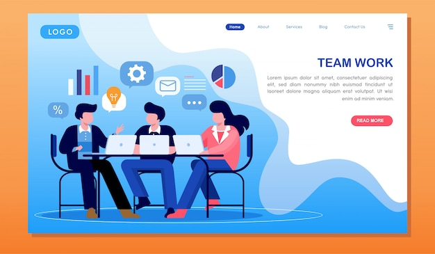 Team work marketing research and analyzing website landing page