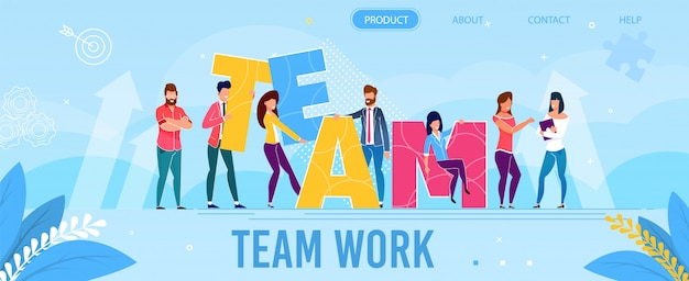 Team work metaphor landing page in flat style