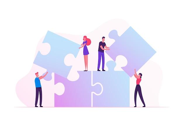 Метафора работы в команде. люди, соединяющие элементы головоломки. коллективная работа сотрудничество. мультфильм плоский рисунок
