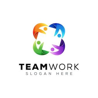 Team work people group logo, people family logo design template
