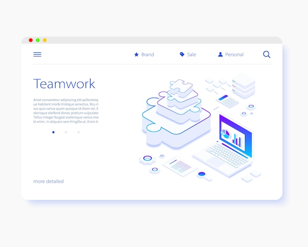 Team work. puzzle pieces. isometric design. landing page