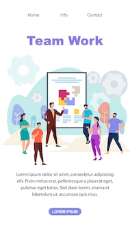 Team work vertical landing page web template