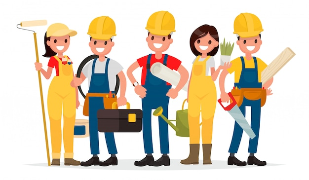 Team of workers are building a house. foreman, painter, electrician, landscaper, carpenter.