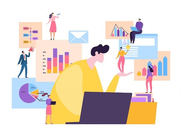 Работники команды делают бизнес-анализ в иллюстрации офиса. маленький персонаж люди сотрудник с графиками, диаграммами