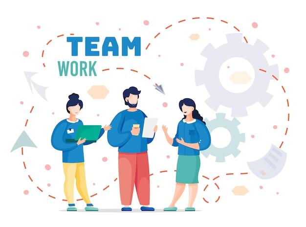팀 근로자가 입석 및 프로젝트 논의