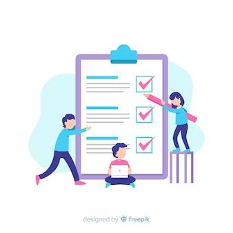 Team working on checklist background