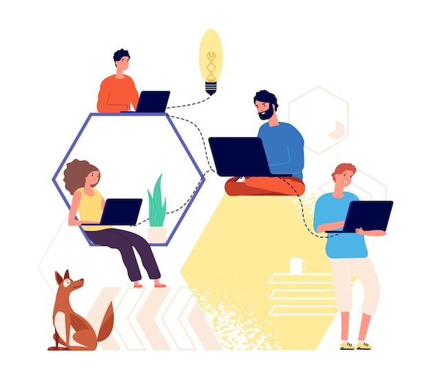 チームワーク。創造的な人々が考え、アイデアを見つけます。ブレーンストーミング、スタートアップ、またはプロジェクトの共同作成。リモートワーカー、1つのビジネス作業ベクトルイラストを行うフリーランサー。チームの創造的な仕事