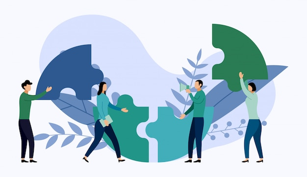 Team working, people connecting puzzle elements