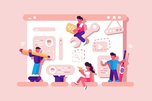 Team working at web development illustration. web designers building website page