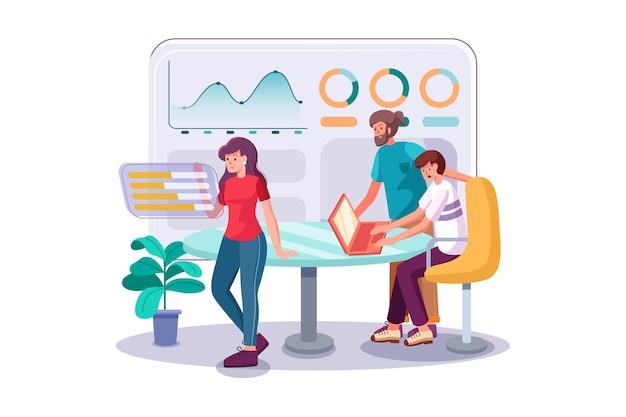 Команда работает над проектом с помощью аналитики в офисе