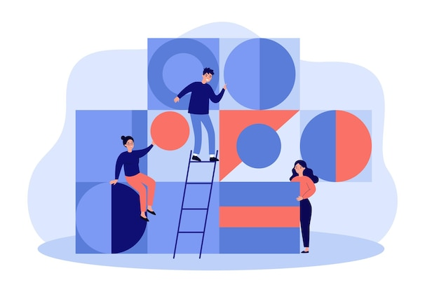 Team of young people arranging abstract geometric figures flat illustration