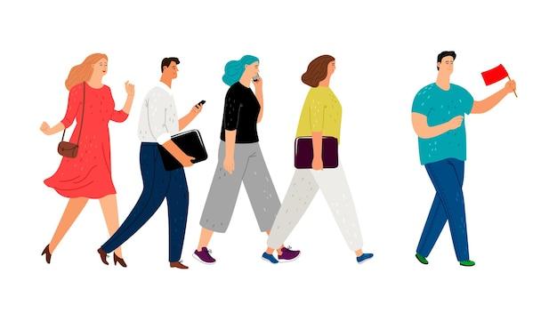 팀 리더 또는 영향력 있는 사람, 비즈니스 리더십 개념. 관광 그룹 가이드, 붉은 깃발 벡터 삽화가 있는 남자를 따라가는 활동적인 성인