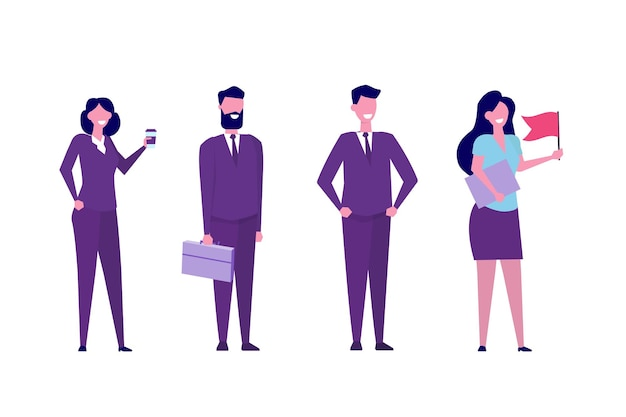 チームリーダーまたはインフルエンサーのキャラクターのコンセプト。ビジネスのリーダーシップ。フラットスタイルのベクトル図