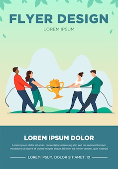 Teams competing for prize. people playing tug-of-war, pulling rope with golden cup flat vector illustration. competition, contest concept
