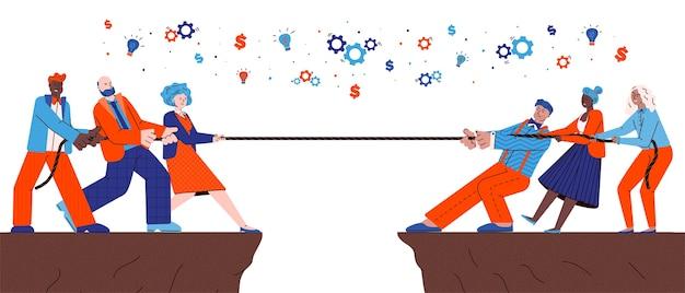 ロープ、白い背景で隔離のフラット漫画イラストを引っ張るビジネス人々のチームの競争。チームワークの戦いとリーダーシップの達成の挑戦。