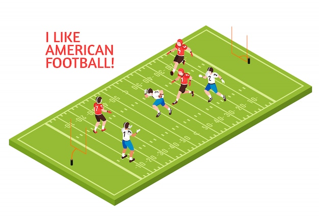 Teams of players during american football match on green play field isometric illustration