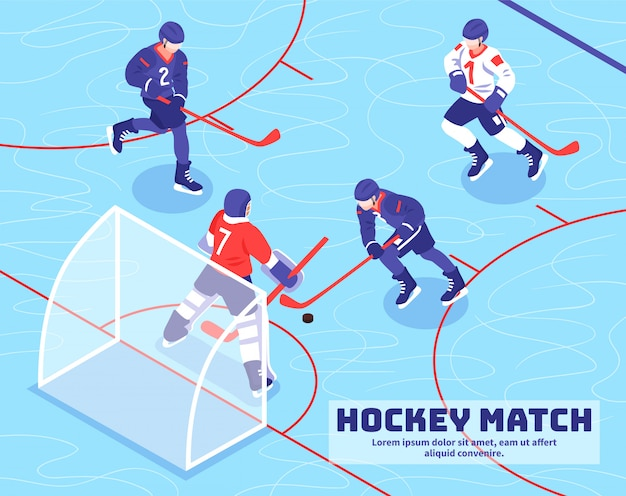 Teams of players near goal with puck during hockey match on ice isometric illustration