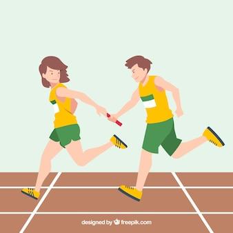 Концепция teamwok с эстафетной гонке