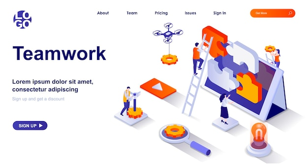 Teamwork 3d isometric landing page with people characters