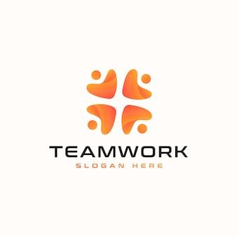 チームワークの抽象的なロゴのテンプレート。