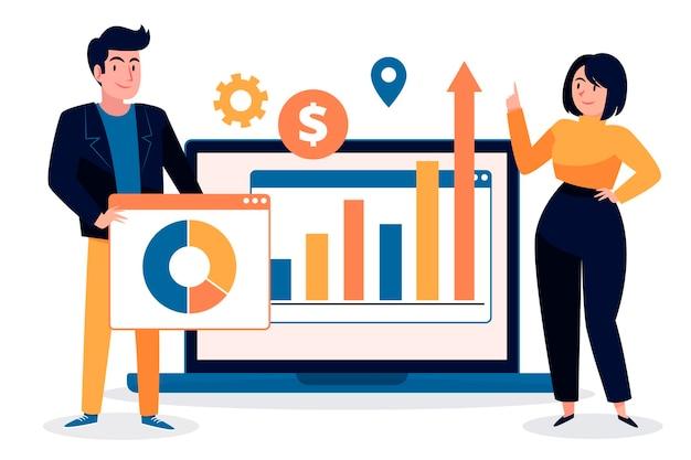 成長チャートを分析するチームワーク