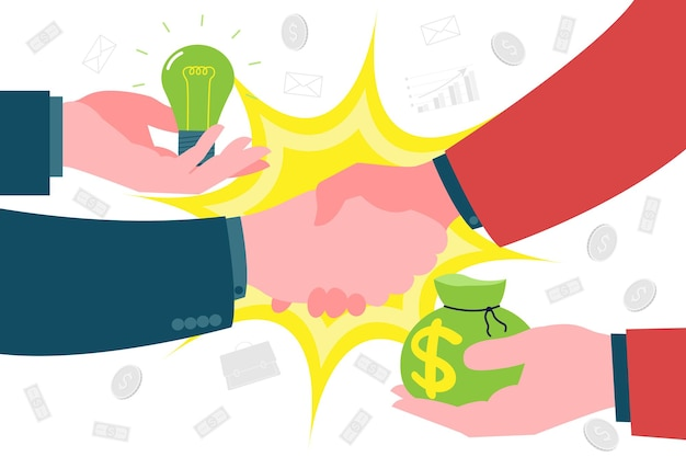 팀워크와 비즈니스 빌딩. 새로운 사업을 시작할 때 투자자와 스타트업 협력과 악수. 투자자는 새로운 창의적인 아이디어와 개발에 대한 대가로 돈과 지원을 제공합니다.