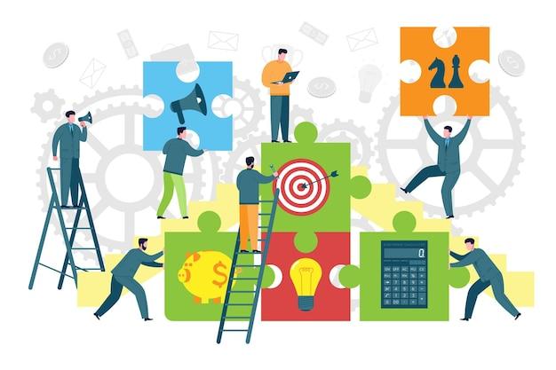 Работа в команде и построение бизнеса метафора. коллеги или члены команды составляют головоломки в качестве бизнес-элементов. концепция коворкинга, сотрудничества и делового партнерства.