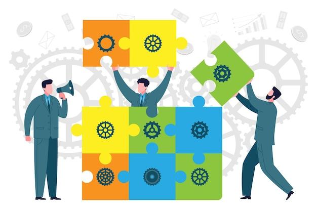 チームワークとビジネス構築の比喩。同僚やチームメンバーは、ビジネス要素としてジグソーパズルを作成します。コワーキング、コラボレーション、ビジネスパートナーシップのコンセプト。