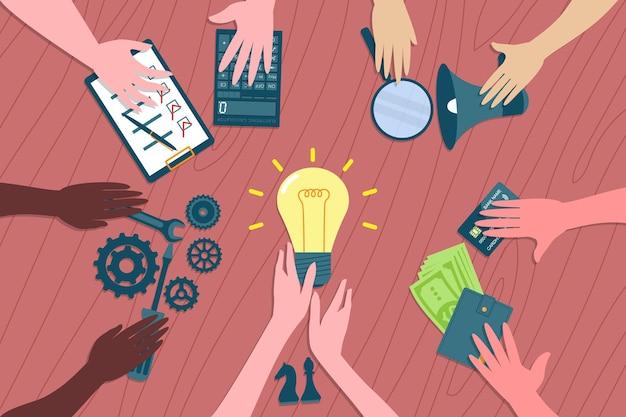 Работа в команде и бизнес-метафора тимбилдинга. коллеги предлагают ресурсы для создания новой бизнес-идеи. концепция коворкинга, сотрудничества и делового партнерства.