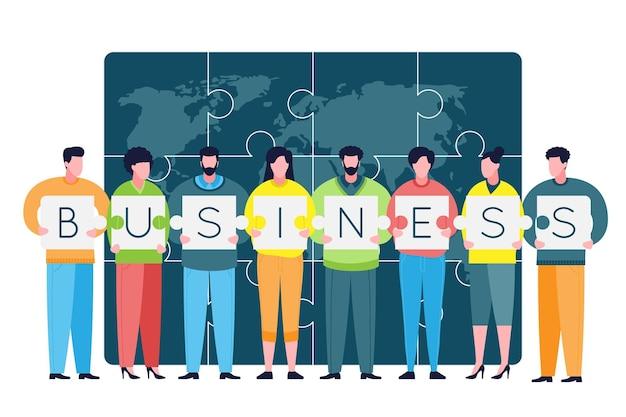 チームワークとビジネスチームビルディングの比喩。同僚は、ビジネスと成功するチームの要素としてパズルを組み立てます。コワーキング、コラボレーション、ビジネスパートナーシップのコンセプト。