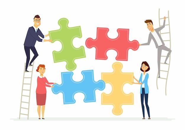 Работа в команде и сотрудничество для бизнеса современные мультипликационные персонажи персонажей иллюстрации