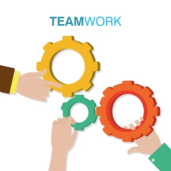 Teamwork and gears concept vector illustration graphic design