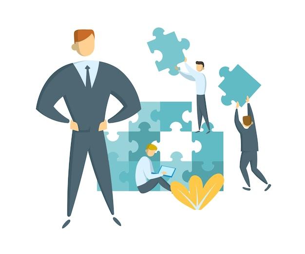 팀워크와 리더십 개념. 그의 팀을 성공으로 이끄는 리더. 거대한 퍼즐 조각을 가진 기업인. 파트너십과 협업에 대한 아이디어. 평면 그림. 외딴.