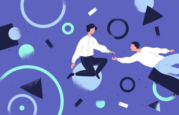팀웍 및 지원 평면 벡터 일러스트 레이 션. 동료 만화 캐릭터와 추상적인 기하학적 모양. 공동 작업 및 비즈니스 파트너십 개념입니다. 기업인과 경제인 협력.