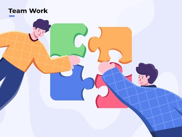 チームワークとチームビルディングフラットスタイルのベクトルイラストチームまたはパズルを解く人々