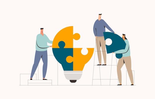 Работа в команде, сборка иллюстрации головоломки