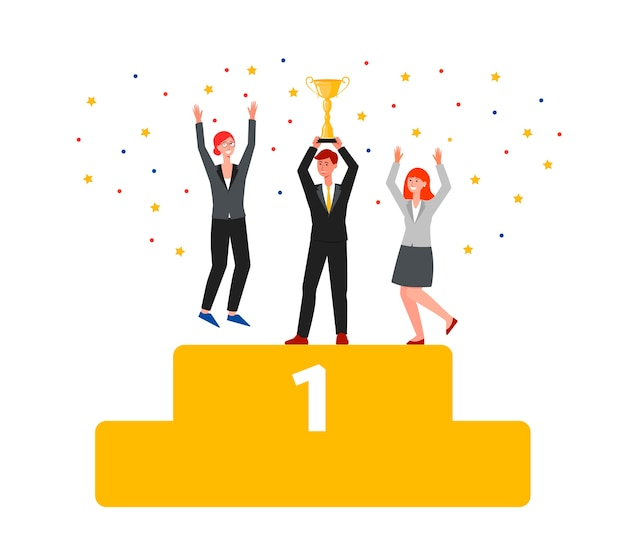 Teamwork award with people characters cheering holding golden cup trophy and celebrating success and victory the flat vector illustration isolated