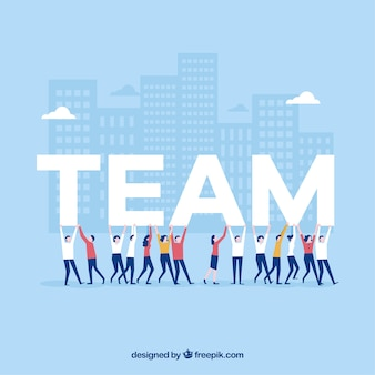 Teamwork background in flat design