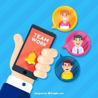 Sfondo di lavoro di squadra con lo smartphone