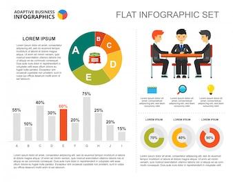 Teamwork bar and doughnut charts template for presentation