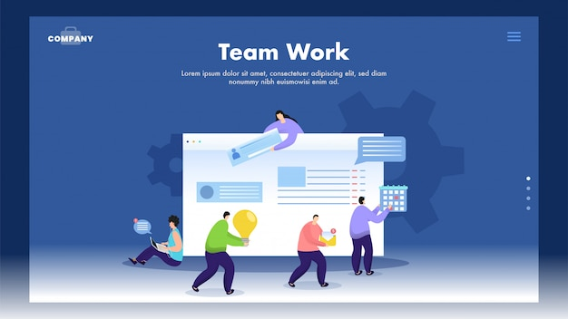 Teamwork  based web banner  with business people working together as online chatting, idea, calendar maintain on website.