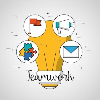 Teamwork big bulb stickers puzzle megaphone flag message