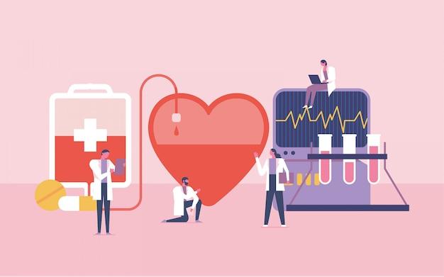 Teamwork for blood donor  illustration