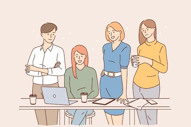 사무실 개념에서 작업하는 팀워크 브레인스토밍
