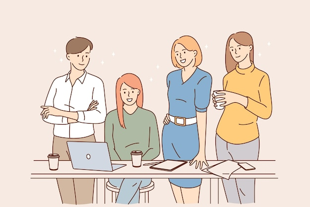 Teamwork brainstorm working in office concept