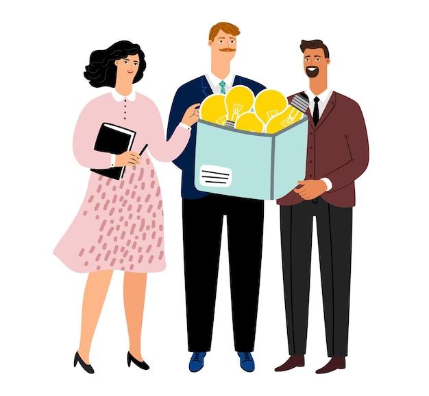 Коллективная работа, мозговой штурм. метафора различных идей, результаты работы бизнес-команды. творческое мышление людей, женщин и мужчин с иллюстрацией коробки лампочек