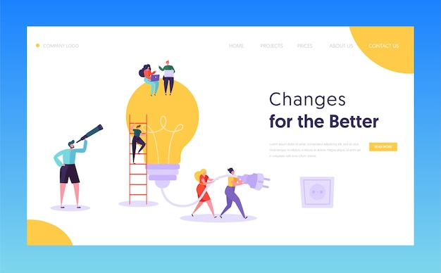 Teamwork brainstorming idea concept landing page. manager remote work, searching for new idea with big light bulb lamp, working together company website or web page. flat cartoon vector illustration