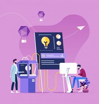 Teamwork brainstorming process generating new idea