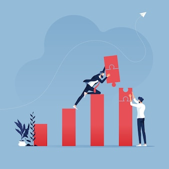 Teamwork build target sales with jigsaw puzzle-business concept illustration