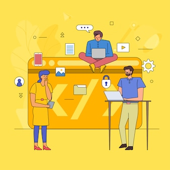 Teamwork building business industry of coding . icon graphic style line cartoon.  illustrate.